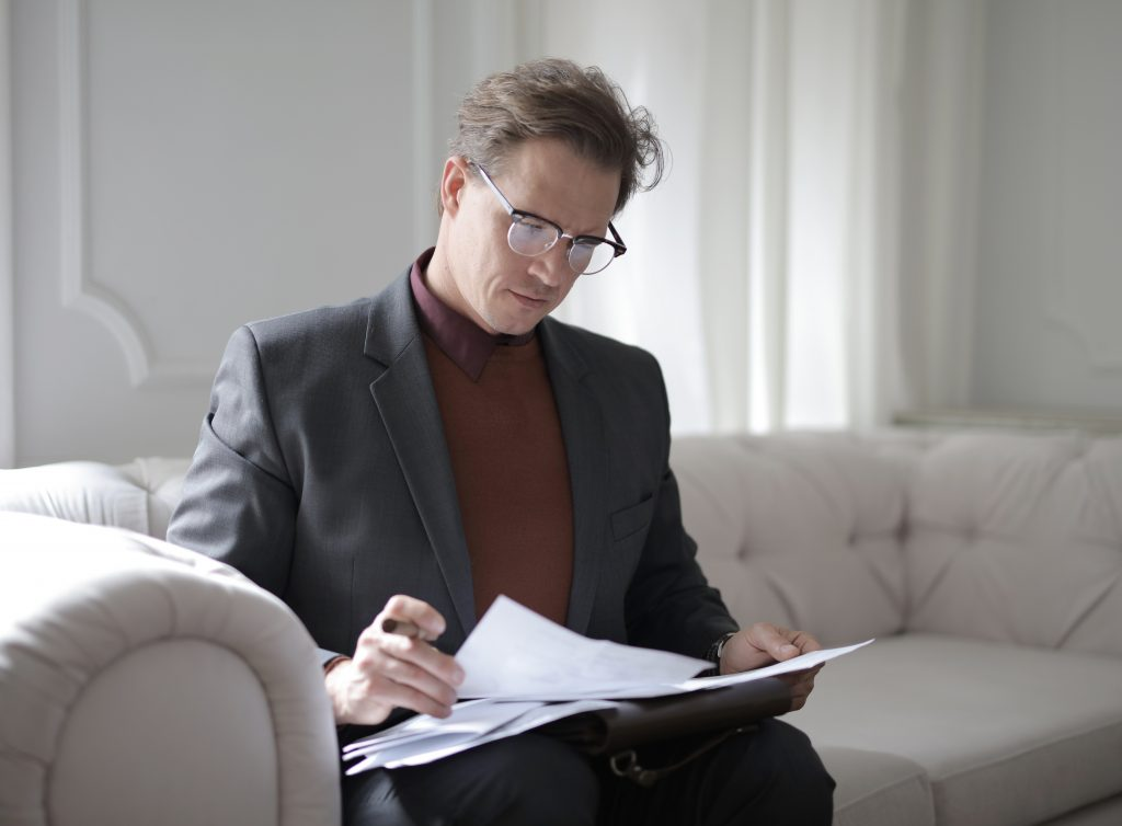 lawyer looking at some documents