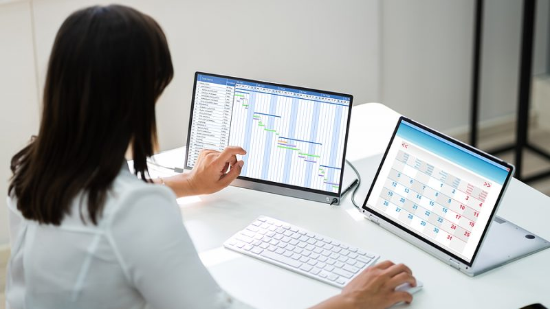 Woman Using Timesheet Software In Her Tablet